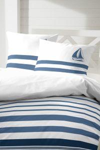 Hahn Renforce Bettwäsche 155x220 Maritim Streifen Segelboot blau weiss 123081-3