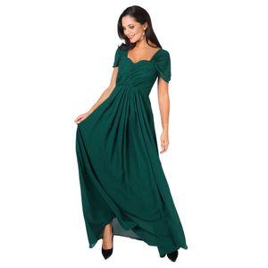 Krisp Damen Abendkleid mit Faltenwurf, Off-Shoulder-Stil, lang KP136 (42 DE) (Grün)