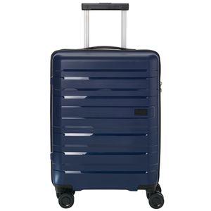 Travelite Kosmos 4-Rollen 4-Rad Boardcase Kabinen Handgepäck Trolley 55 cm, Farbe:Marine