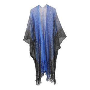 Sommer Frauen Chiffon Strand Cover Up Cardigan Sommer Boho Kimono Bademode bademode Farbe Blau