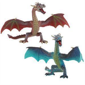 Bullyland - Drachen - 75592 Drache fliegend türkis & 75591 Drache fliefend rotbraun
