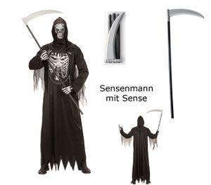 Herren Kostüm Sensenmann mit Kette + Maske mit Sense XL - 54/56