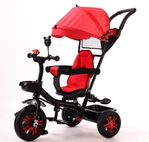 Kinderdreirad Dreirad 4 in 1 Sonnendach Kinderwagen Fahrrad Baby Kleinkinder Rot