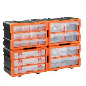 Monzana Kleinteilemagazin Sortimentskasten erweiterbar verschiedene Größen Sortierbox für Kleinteile Aufbewahrungsbox , Anzahl Fächer:72 Fächer Komplettset