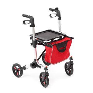 Rollator / Gehhilfe aus Aluminium | leicht (nur 7,7kg) | Griffhöhe höhenverstellbar | Feststellbremse | bis 135 kg belastbar | abnehmbare Einkaufstasche | faltbar | schwenkbare Räder