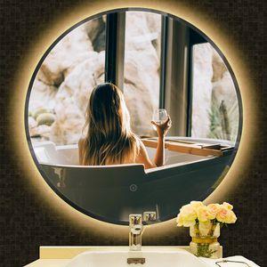 LED Rund Badspiegel Anti-Fog Badspiegel Wandspiegel Badspiegel Abgeschrägte 70*70cm (Warmweiß)