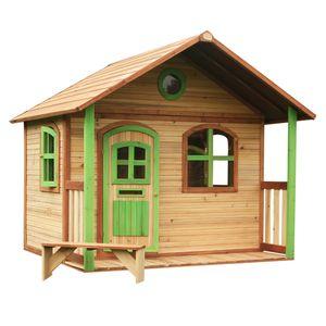 AXI Spielhaus Milan ausHolz   Outdoor Kinderspielhaus mit Veranda für den Garten in Braun & Grün   Gartenhaus für Kinder mit Fenstern