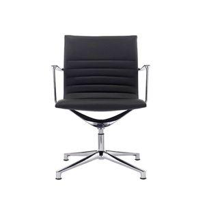 SVITA Elegance Premium Drehstuhl Kunstleder schwarz Konferenzstuhl Besucherstuhl mit Armlehnen drehbar