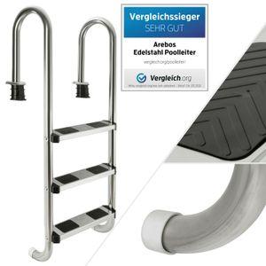 AREBOS Poolleiter aus Edelstahl mit 3 Stufen   Poolleiter   Leiter   Einbauleiter   Schwimmbad   Treppe