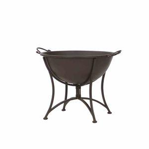 Siena Garden 554517 Feuerschale Antik, Metall pulverbeschichtet, rostbraun, mit klappbarem Fuß, 64,5x53,5x48,5cm