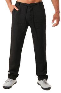 Young & Rich Herren Leinenhose Sommerhose 100% Leinen mit Kordelzug leichter Tragekomfort tapered legs T4080, Grösse:M, Farbe:Schwarz