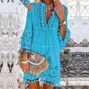 Damenmode Casual charmant Spitze Viertel Ärmel Rüschen Quasten V-Ausschnitt Kleid Größe:XXXXXL,Farbe:Blau