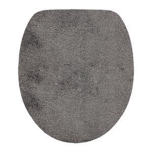 DILUMA | WC Deckelbezug 47x36 cm Grau | Toilettendeckel Bezug | Flauschiger Hochflor, Weich, Rutschfest, Saugstark