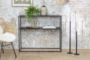LIFA LIVING Konsolentisch mit 2 Böden, Stabiler Beistelltisch aus schwarzem Metall, Kommode für Wohnzimmer und Flur, 100 x 30 x 85 cm