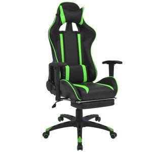 Gamingstuhl Schreibtischstuhl Chefsessel Neigbarer Racing-Bürostuhl mit Fußstütze Grün