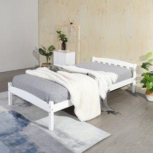 H.J WeDoo Einzelbett Holzbett Bettgestell mit Lattenrost 90x190cm Weiß