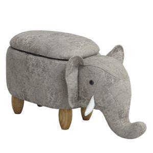 SVITA ANIMAL STORAGE Kinderhocker Tierhocker mit Stauraum gepolsterter Hocker mit Holzbeinen Hellgrau Tier-Motiv Elefant