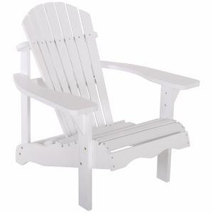 Raburg Gartensessel SUNJA Premium in WEIß - Akazie Hartholz, lackierter XXL Design-Gartenstuhl Canadian Adirondack Deck-Chair / Hamburger Alsterstuhl, belastbar bis 150 kg