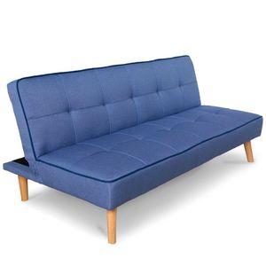 Homestyle4u 1896, 3-Sitzer Schlafcouch Schlafsofa, Couch mit Bettfunktion, Modern Blau