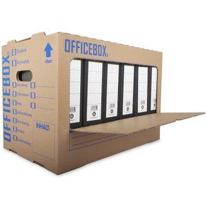 10 x Officebox® Archivbox Ordnerkarton Archivkarton Archivbox mit Sichtfenster braun