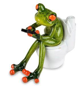Formano lustige Frösche Figur Frosch auf Toilette Poly 13 cm WC