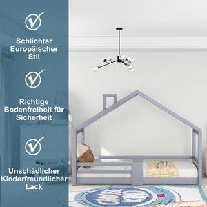 90x200cm Kinderbett Hausbett Kinderzimmer mit Schornstein Kiefernholz Haus Bett ohne Matratze Maximale Gewicht beträgt 80 KG Grau
