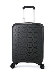 Verage Diamond 4-Zwillingsrollen-Koffer, TSA-Schloss, erweiterbar, PP Hartschale Handgepäck Rollkoffer S-55cm, carry-on Cabin-size Schwarz