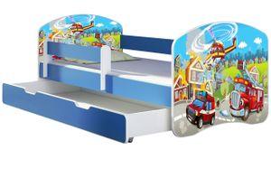 ACMA Jugendbett Kinderbett Junior-Bett Komplett-Set mit Matratze Lattenrost und Rausfallschutz Blau 36 Feuerwehr 140x70 + Bettkasten