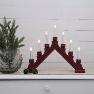LED Fensterleuchter KARIN - 7flammig - 7 warmweiße LED - L: 42cm, H: 34cm - Schalter - Rot