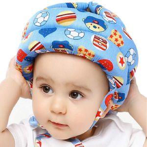 Baby Helm Kopfschutz Kleinkind Schutzhut Baumwolle Verstellbarer Sicherheitshelm Baby im Alter von 8-48 Monaten (Fußball Blau)