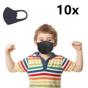 10 * Kindermasken Atmungsaktive Schutzmaske Antibeschlag Anti-Staub, Schwarz