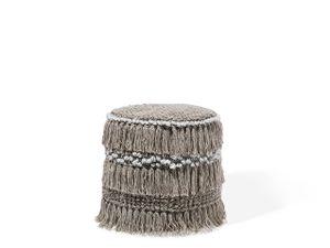 Pouf Beige Baumwolle mit Fransen Rund Boho-Stil