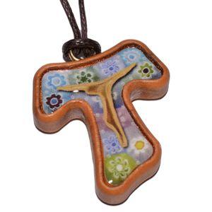 Umhängekreuz Olivenholz Tau-Kreuz Anhänger Einlage im Murano-Stil 3cm