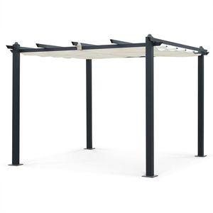 Aluminium-Pergola - Condate 3x3m - Ecru Stoff - Laube ideal für Ihre Terrasse, verstellbares Dach, Stoff-Faltdach, Aluminiumgestell