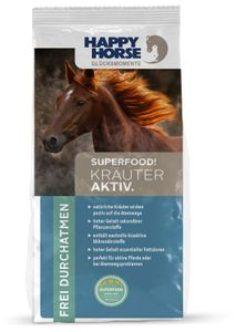 "Happy Horse Superfood ""Kräuter Aktiv"" 14 kg + 2 x 1 kg Lecker Snack"
