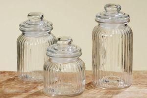 Vorratsglas, Vorratsdose, Bonboniere 3er-Set aus Glas, Höhe ca. 15, 19 und 23 cm, Füllmengen: 650 ml, 950 ml,1350 ml