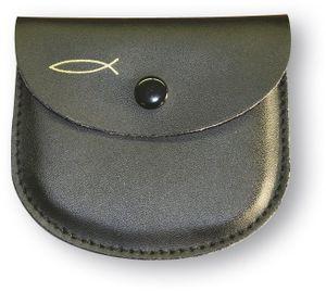 Rosenkranz-Etui Leder, schwarz mit Fisch