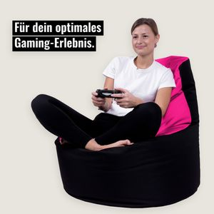 Kissenwelt-Berlin Sitzsack Gamer Riesensitzsack Kinder Sitzsäcke Erwachsene Indoor Beanbag Outdoor Gaming Bean Bags Boden Sitzsack gefüllter Sessel Lounge Sitzkissen 12 Farben wählbar (Schwarz-Pink)