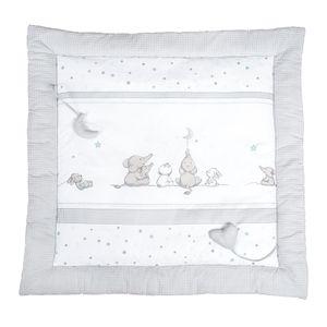 roba Spiel- & Krabbeldecke Sternenzauber, 100x100cm, Babys gepolsterte Spielunterlage / Laufgittereinlage, 100% Baumwolle, inkl. Baby-Spielzeug
