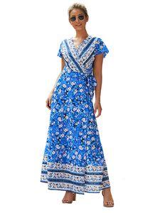 Böhmisches Blumen-Blumenkleid für Damen V-Ausschnitt Blumen-Strandkleid,Farbe: Die Farbe blau,Größe:S