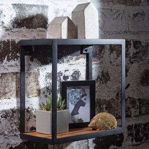 FineBuy Wandregal PURI 35 x 18 x 35 cm Sheesham Massivholz | Bücherregal hängend | Metallregal mit Echtholz Regalboden | Kleines Holzregal quadratisch | Nachbildungegal Würfel Hängeregal Industrial Wanddeko