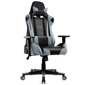 Gaming Stuhl, Racing Gamer Stuhl, Bürostuhl, Ergonomischer höhenverstellbar Schreibtischstuhl, Grau