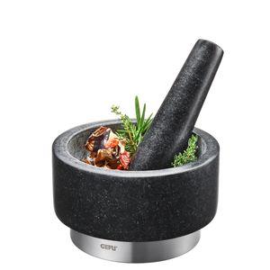 GEFU MÖRSER mit Stößel GRANIT Gewürzmörser Zerkleinerer Reibe Küche Graphit Neu