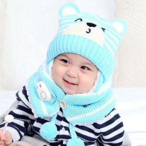 (Blau)Kinder Mützen Mütze Set Baby Kinder Cartoon Design Streifen Strick Fügen Sie Samt Hut und Schal Winter Warm Suit Set