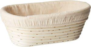 Gärkörbchen mit Leineneinsatz Brotschale Brotform Gärkorb aus Peddigrohr(oval 25 x 15 x 8cm)