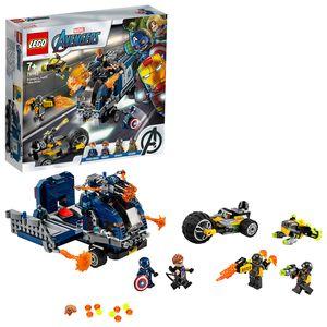 LEGO 76143 Super Heroes Marvel Avengers Truck-Festnahme Spielset mit Captain America und Hawkeye Minifiguren