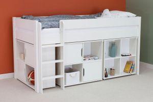 Hochbetten (4-tlg),Bett inkl. 1 Schreibtisch und 2 Kommoden,Schreibtisch ausziehbar,Liegefläche 90x200 cm,Weiß