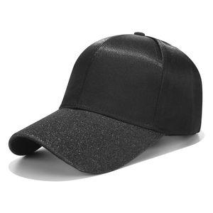 Pferdeschwanz Baseballmütze Frauen Glitter Brim Trucker Caps Satin Hüte Hysteresen-Hut -(Schwarz,)
