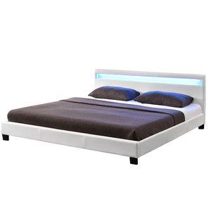 Juskys Polsterbett Paris 140 x 200 cm weiß – Bettgestell mit LED Beleuchtung, Lattenrost & Kopfteil – Kunstleder & Holz – Bett Jugendbett