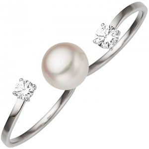 JOBO Damen Zweifinger Ring 52mm 333 Gold Weißgold 1 Süßwasser Perle 2 Zirkonia Perlenring